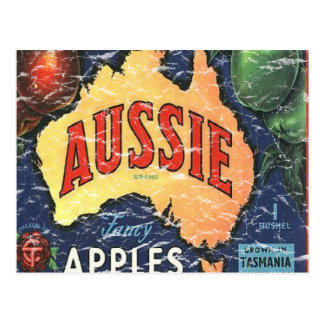 Aussie Apples- distressed Postcard