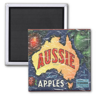Aussie Apples- distressed Square Magnet