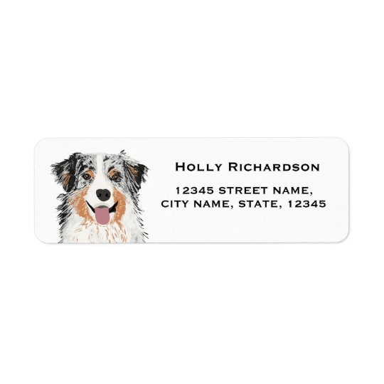 aussie australian shepherd blue merle return label return address label