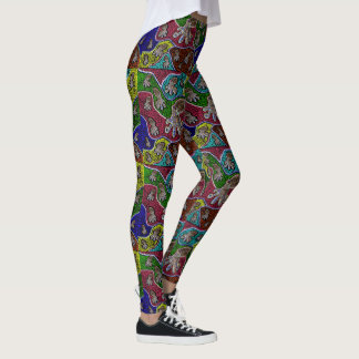 Aussie Blue Ringed Octopus Dot Art Leggings