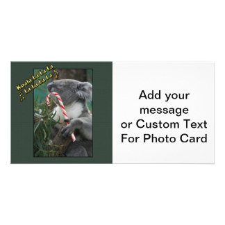 Aussie Christmas Koala with Candy Cane Custom Photo Card