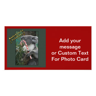 Aussie Christmas Koala with Candy Cane Photo Card Template