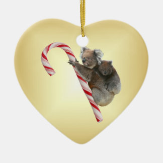 Aussie Christmas Koalas on Candy Cane Christmas Ornament