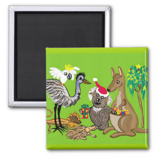 Aussie Christmas Square Magnet