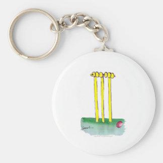 aussie golden cricket bails, tony fernandes basic round button key ring