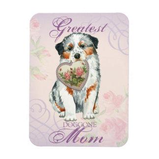 Aussie Heart Mom Rectangular Photo Magnet
