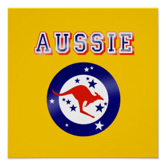 Aussie Kangaroo flag emblem logo gifts Posters