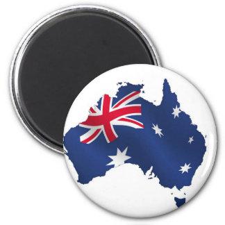 Aussie map flag 6 cm round magnet