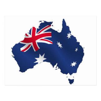 Aussie map flag postcard