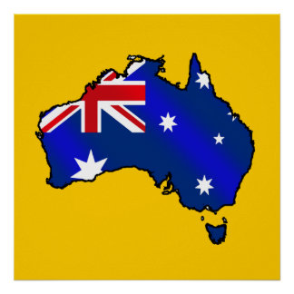 Aussie Map of Australia Oz flag gifts Poster