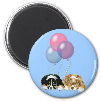Aussie Puppies Party Time 6 Cm Round Magnet