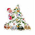 Aussie Pups under the tree w/Santa Photo Sculpture Magnet