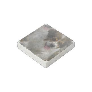 Aussie Shepherd Puppy Stone Magnet