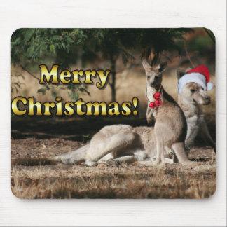 Aussie Style Christmas Kangaroos Mouse Pad
