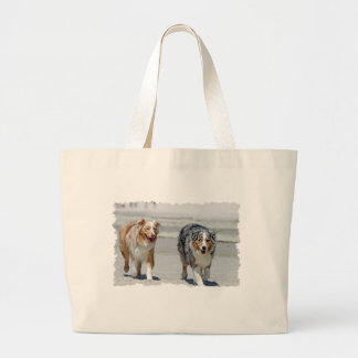 Aussies - 1st Day of Summer Beach Stroll Large Tote Bag