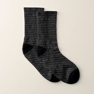 Austen Pride Text Black Socks 1