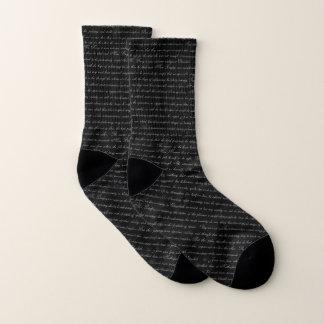 Austen Pride Text Black Socks 1