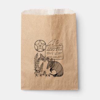 Austin Armadillo Line Art Design Favour Bags
