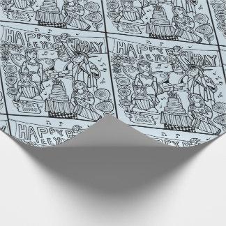 Austin Birthday Line Art Design Wrapping Paper