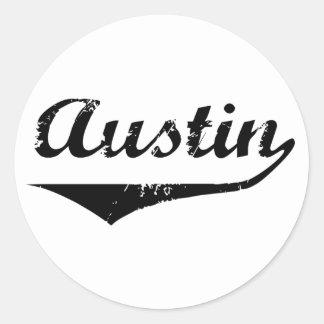 Austin black text classic round sticker