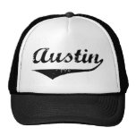 Austin black text mesh hat