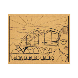 Austin Bridge Line Art Design Canvas Print