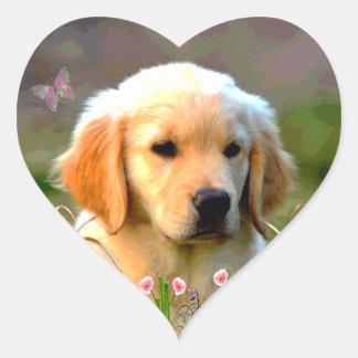 Austin Golden Labrador Puppy Heart Sticker