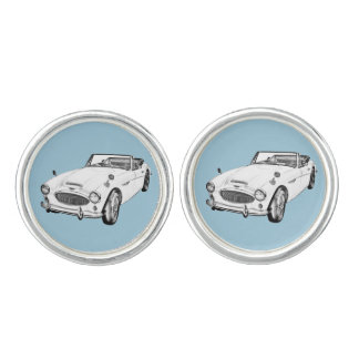 Austin Healey 300 Classic Sports Car Illustration Cufflinks
