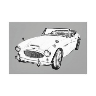 Austin Healey 300 Sports Car Illustration Gallery Wrapped Canvas