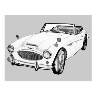 Austin Healey 300 Sports Car Illustration Post Cards