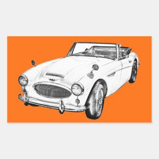 Austin Healey 300 Sports Car Illustration Rectangular Sticker