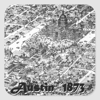 Austin Historic Map 1873 Square Sticker