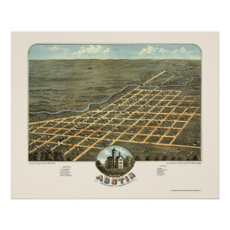 Austin, MN Panoramic Map - 1870 Poster