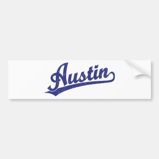 Austin script logo in blue bumper sticker