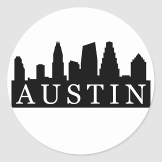 Austin Skyline Classic Round Sticker