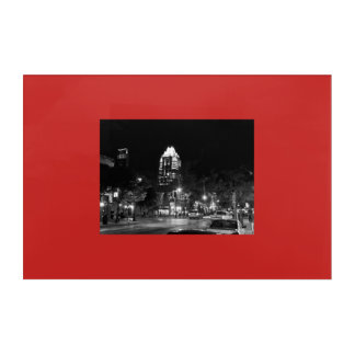 Austin Texas At Night Black and White Acrylic Print