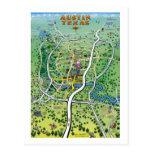 Austin Texas Cartoon Map Postcard