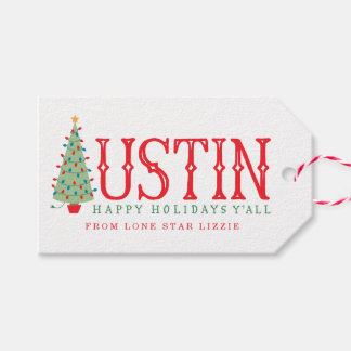 Austin, Texas Christmas Tree Happy Holidays Gift Gift Tags