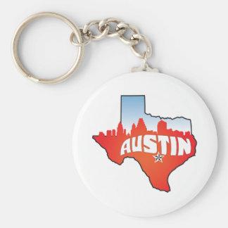 Austin Texas Cityscape Basic Round Button Key Ring