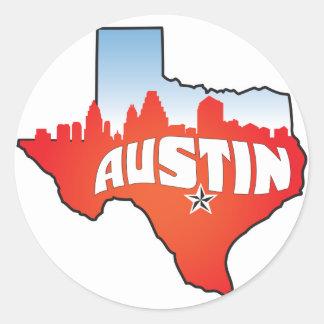 Austin Texas Cityscape Classic Round Sticker