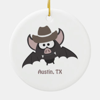 Austin, Texas - Cowboy bat Christmas Ornament