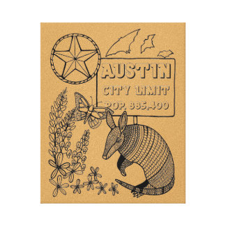 Austin Texas Line Art Design By Suzy Joyner Canvas Print