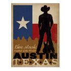 Austin, Texas   Live Music Cowboy Postcard