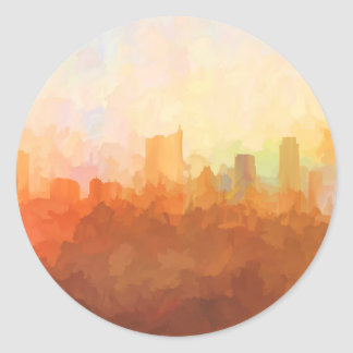 AUSTIN, TEXAS SKYLINE-In the Clouds-Stickers Classic Round Sticker