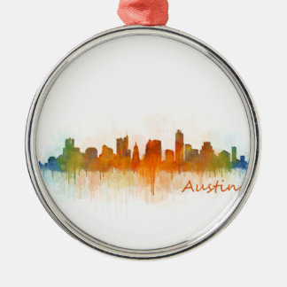Austin Texas skyline Watercolor v3 Silver-Colored Round Decoration