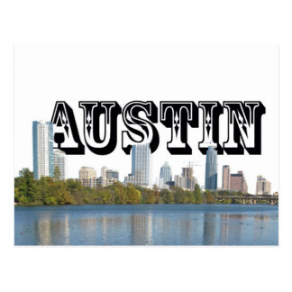 Austin Texas Skyline with Austin in the Sky Postcard