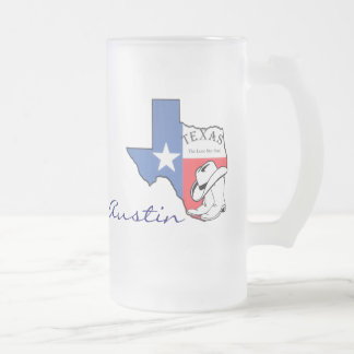 Austin, Texas State Map with Star, Boots, Hat Mug