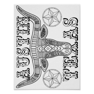 Austin Texas Steer Cardstock Adult Coloring Page Poster