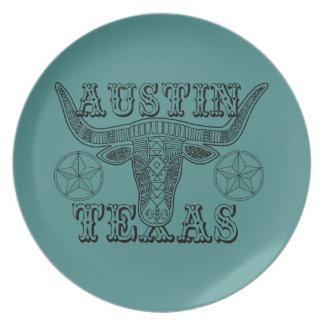Austin Texas Steer Line Art Design Plate