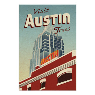 Austin Texas Vintage Travel Poster